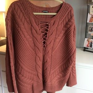 Salmon lace up sweater size medium